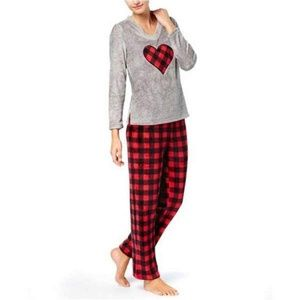 Charter Club Plush Pajama Set LARGE Plaid Print